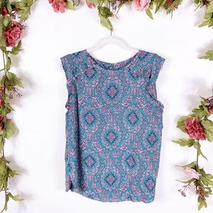LOFT | blue medallion ruffle tank blouse